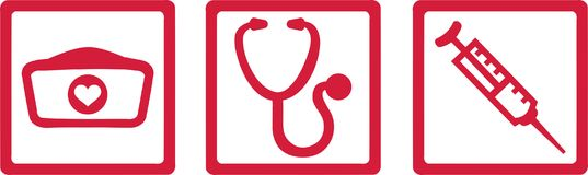 Nurse job icons red. Nurse job icons with hat, stethoscope and injection vector illustration