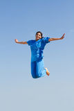 Nurse jumping high Stock Photo