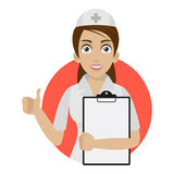 Nurse keeps blank in circle Royalty Free Stock Photos
