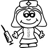 Nurse  kids coloring page. Very high quality hand drawing illustration. On this picture you can see some cute Nurse. Great picture for kids and coloring book Stock Image