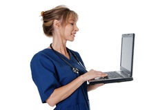 Nurse with laptop isolated Stock Image