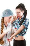 Nurse makes the patient an injection Stock Photography