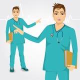 Nurse man with stethoscope showing something Royalty Free Stock Photos