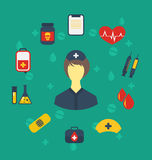 Nurse with medical icons for web design, modern flat style Royalty Free Stock Photo