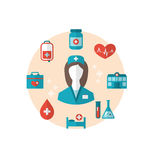 Nurse with medical icons for web design, modern flat style Royalty Free Stock Photos