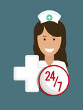 Nurse medical service cross 24-7 Stock Images