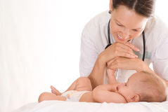 Nurse with a newborn Royalty Free Stock Photo