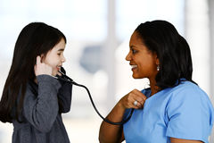 Nurse and Patient. Nurse with a patient in the hospital Stock Photography