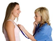 Nurse and Patient. Beautiful medical nurse and patient royalty free stock images