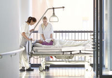 Nurse patient corridor bed Royalty Free Stock Photography