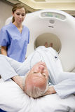 Nurse With Patient Having CAT Scan Royalty Free Stock Photography