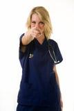 Nurse pointing Stock Photo