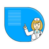 Nurse pointing up with her index finger. Vector illustration with character in line style and copy space Stock Image