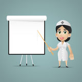 Nurse points on flipchart. Illustration, nurse points on flipchart, format EPS 10 vector illustration