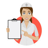 Nurse points to form in circle Royalty Free Stock Photos