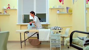 Nurse prepares workplace stock footage