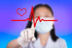 Nurse pressing cardiogram show technology of medical Stock Images