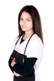 Nurse proud. Medical nurse smiling and proud of her career stock image