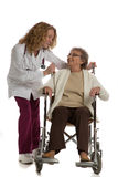 Nurse Push Senior on Wheelchair Isolated Royalty Free Stock Photo