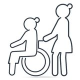 Nurse pushing wheelchair of woman patient or elderly woman icon. Medical care concept, line style illustration royalty free illustration