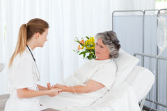 Nurse putting a drip on the arm of her patient Stock Photo