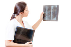 Nurse with radiography Stock Images