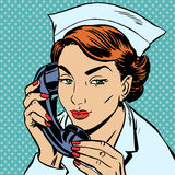 Nurse reception Desk talking phone Stock Images
