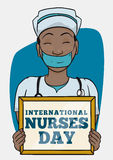 Nurse with Reminder to Commemorate Nurse Day, Vector Illustration Royalty Free Stock Photos