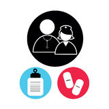 Nurse and reverend. Icons on black circle Royalty Free Stock Image