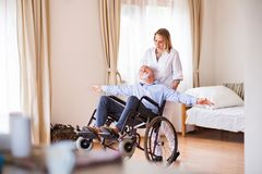 Nurse and senior man in wheelchair during home visit. Royalty Free Stock Image