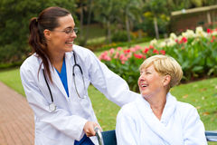 Nurse and senior patient Stock Images