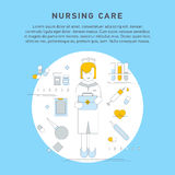 Nurse service primary health. Care vector illustration. Nursing care flat line doodle. Nursing care at home. First aid kit Royalty Free Stock Photography