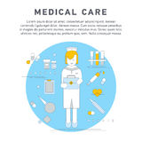 Nurse service primary health. Care vector illustration. Nursing care flat line doodle. Nursing care at home. First aid kit Royalty Free Stock Images