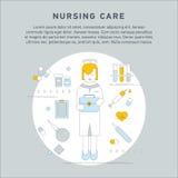 Nurse service primary health. Care vector illustration. Nursing care flat line doodle. Nursing care at home. First aid kit Stock Images