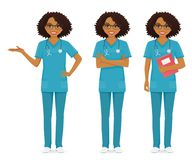 Nurse set black. In different poses set vector illustration Royalty Free Stock Images