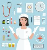 Nurse Showing Medical Tools and Medicament. Medicine flat style illustration with a doctor set. Vector EPS10 stock illustration
