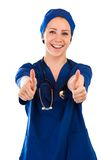Nurse showing thumbs up success sign Royalty Free Stock Photos