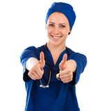 Nurse showing thumbs up success sign Royalty Free Stock Photography