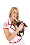 Nurse with small dog hold stethoscope smile Stock Photo