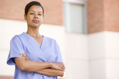 Nurse Standing Outside A Hospital Stock Images