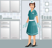 Nurse standing in uniform in a clinic royalty free illustration