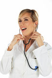 Nurse with the stethoscope Stock Photo