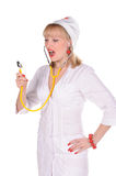 Nurse with  stethoscope Stock Image