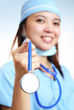 Nurse with stethoscope Royalty Free Stock Photos