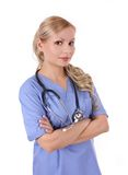 Nurse with stethoscope Stock Photo