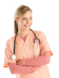 Nurse With Stethoscope Standing Arms Crossed Stock Photography