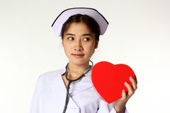 Nurse and symbol of heart Stock Photo