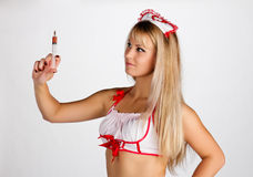 Nurse with syringe Royalty Free Stock Images