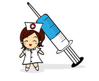 Nurse and syringe cartoon character Stock Photography