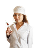 Nurse  with syringe over white Royalty Free Stock Images